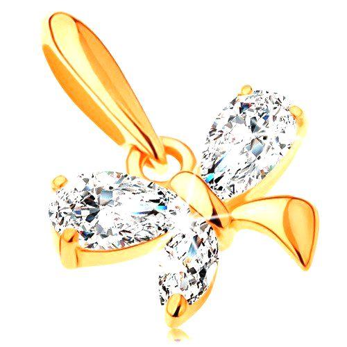 Zlatý 14K prívesok - malý motýlik z trblietavých zirkónov čírej farby