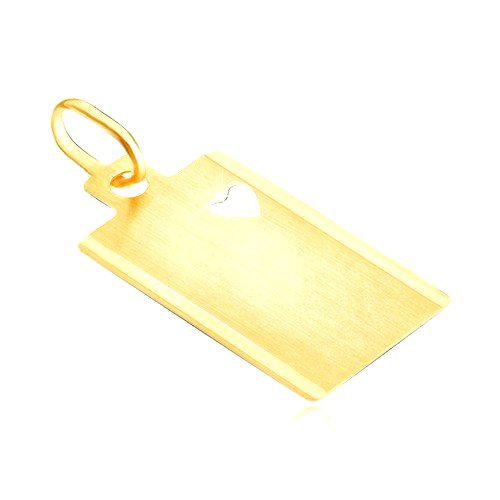Zlatý 14K prívesok - matný obdĺžnik so srdcovým výsekom