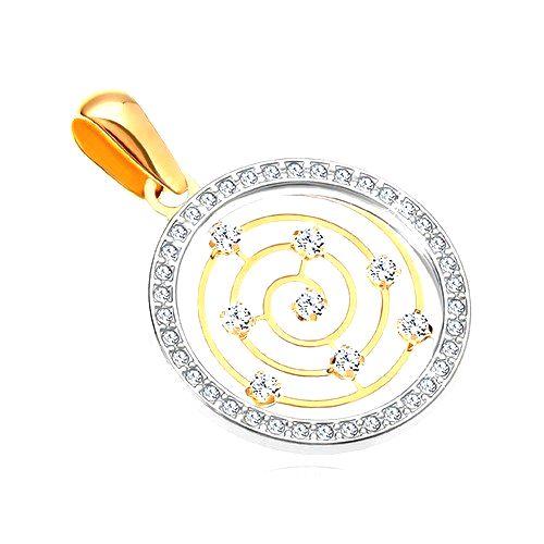 Zlatý 14K prívesok - obruč z bieleho zlata a zirkónov