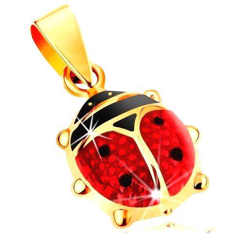 Zlatý 14K prívesok - väčšia vypuklá lienka pokrytá červenou a čiernou glazúrou