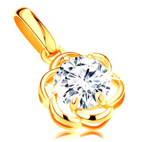 Zlatý 14K prívesok - žiarivý zirkónový kvietok čírej farby
