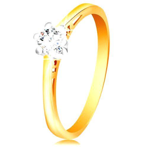 Zlatý 14K prsteň - číry zirkón v kotlíku z bieleho zlata