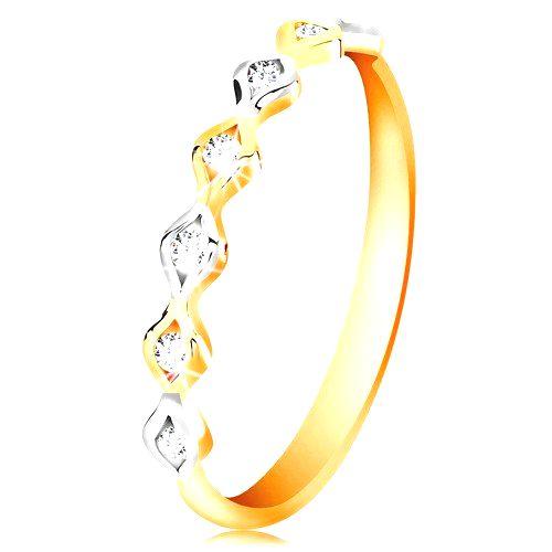 Zlatý 14K prsteň - dvojfarebné zrnká so vsadenými zirkónmi