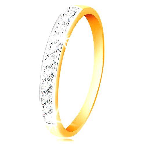 Zlatý 14K prsteň - ligotavý pás z čírych zirkónov s obrubou z bieleho zlata - Veľkosť: 60 mm