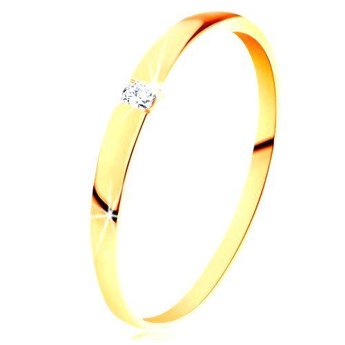 Zlatý 14K prsteň - ligotavý zirkón čírej farby