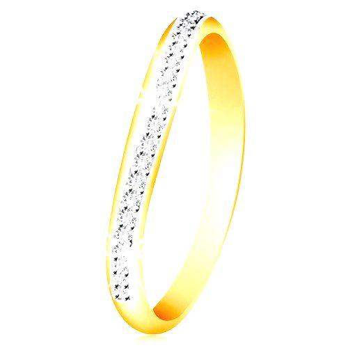 Zlatý 14K prsteň - ligotavý zvlnený pás z čírych zirkónov a bieleho zlata - Veľkosť: 58 mm