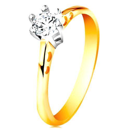 Zlatý 14K prsteň - okrúhle výrezy na ramenách