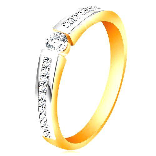 Zlatý 14K prsteň s lesklými dvojfarebnými ramenami
