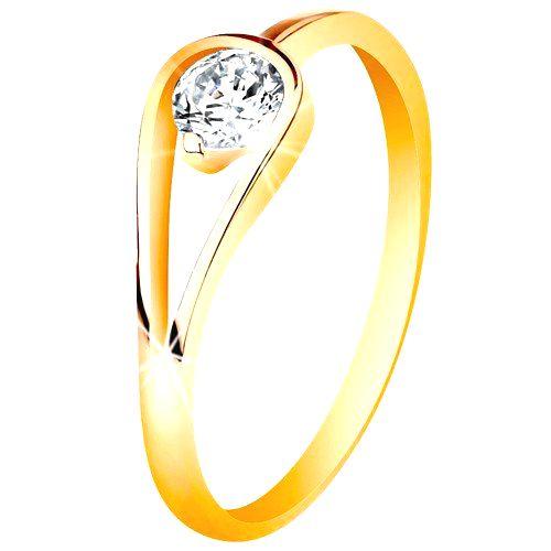 Zlatý 14K prsteň s úzkymi lesklými ramenami