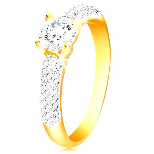 Zlatý 14K prsteň - trblietavé ramená