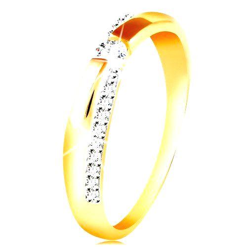 Zlatý 14K prsteň - trblietavý a hladký pás