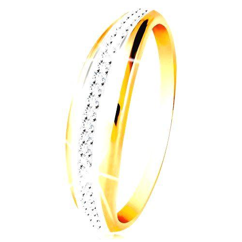 Zlatý 14K prsteň - vypuklý pás s líniou bieleho zlata a čírych zirkónov - Veľkosť: 60 mm