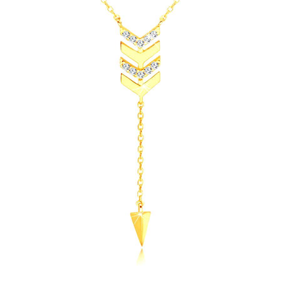 Zlatý 585 náhrdelník - šíp s retiazkou