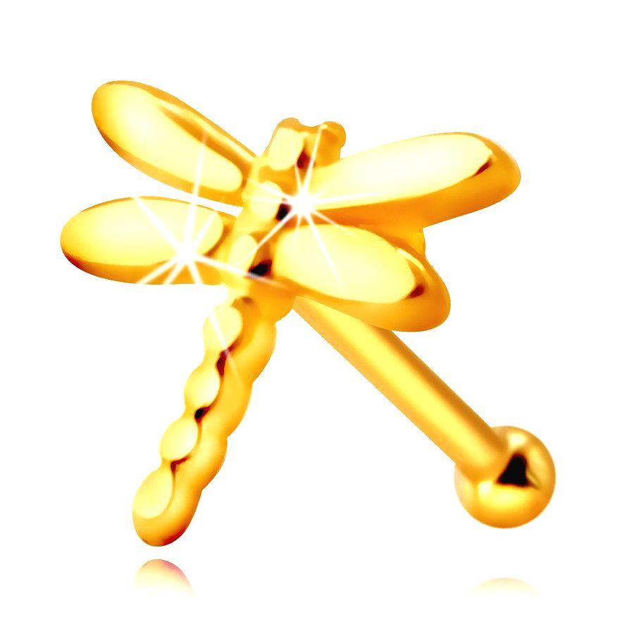 Zlatý 585 piercing do nosa - vážka s lesklými dlhými krídelkami