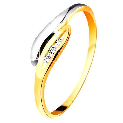 Zlatý diamantový prsteň 585 - dvojfarebné zahnuté lístočky