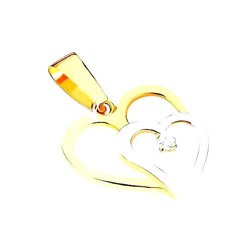 Zlatý dvojfarebný prívesok 375 - dve obrysy srdiečok