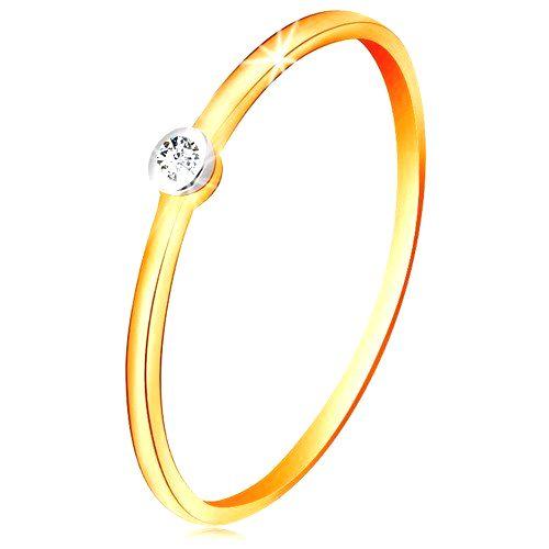 Zlatý dvojfarebný prsteň 585 - číry zirkón v okrúhlej objímke