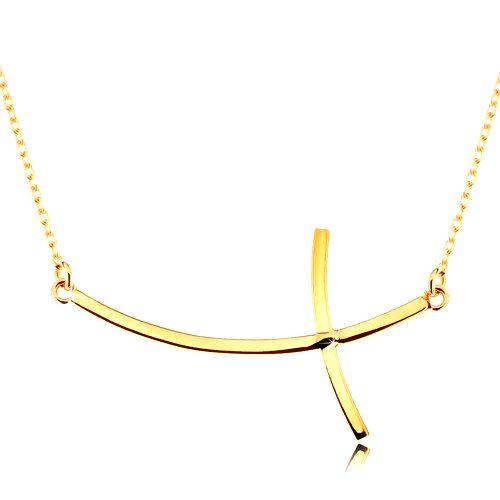 Zlatý náhrdelník 585 - krížik so zahnutými ramenami na retiazke z oválnych očiek