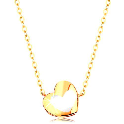 Zlatý náhrdelník 585 - lesklé srdiečko s bielou glazúrou