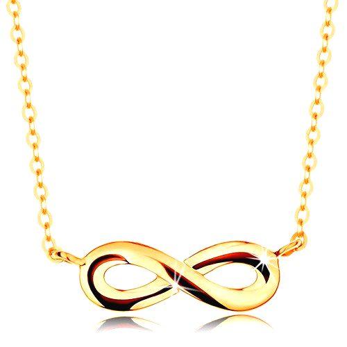 Zlatý náhrdelník 585 - lesklý plochý symbol nekonečna