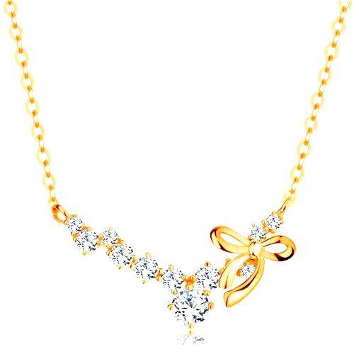 Zlatý náhrdelník 585 - oblúk z čírych zirkónov s lesklou uviazanou mašličkou