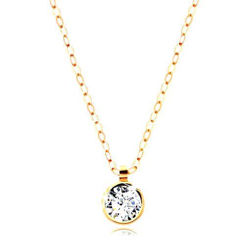 Zlatý náhrdelník 585 - okrúhly číry zirkón
