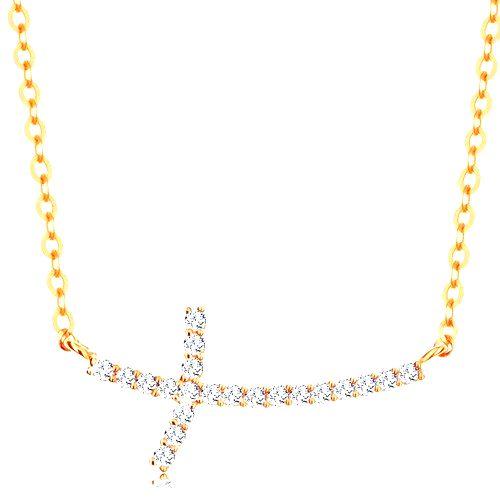 Zlatý náhrdelník 585 - trblietavý zirkónový krížik na retiazke z oválnych očiek