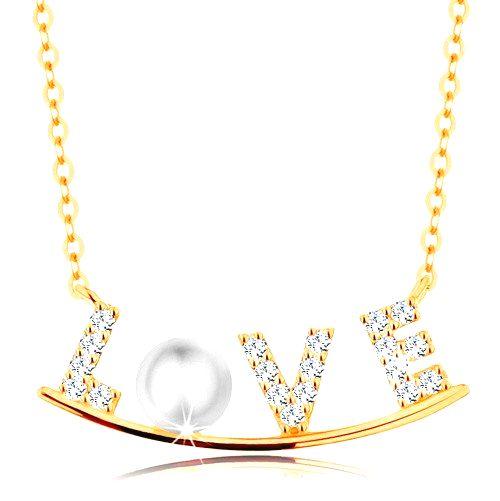 Zlatý náhrdelník 585 - zirkónový nápis LOVE na lesklom oblúku