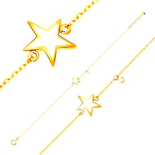 Zlatý náramok 585 - biela glazúrovaná hviezdička