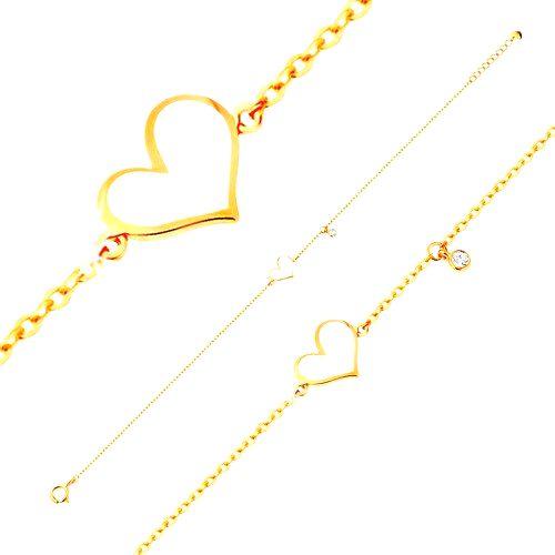 Zlatý náramok 585 - biele asymetrické srdce a číry zirkónik
