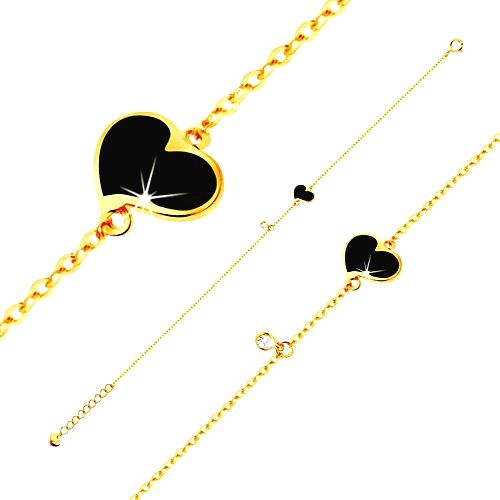 Zlatý náramok 585 - čierne asymetrické srdce a číry zirkónik