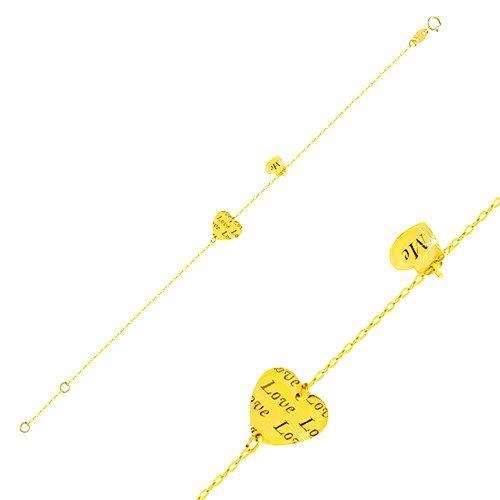 Zlatý náramok 585 - dve lesklé srdiečka s nápismi