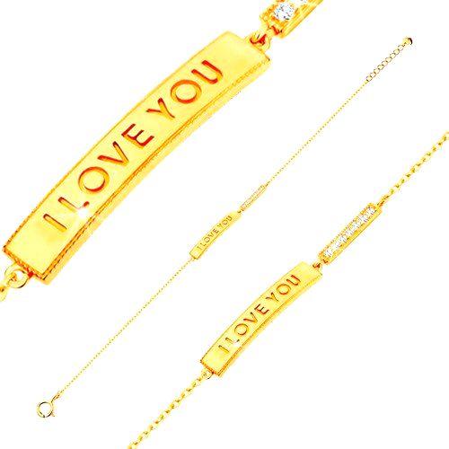 Zlatý náramok 585 - lesklý úzky pás s nápisom I LOVE YOU a číra zirkónová línia