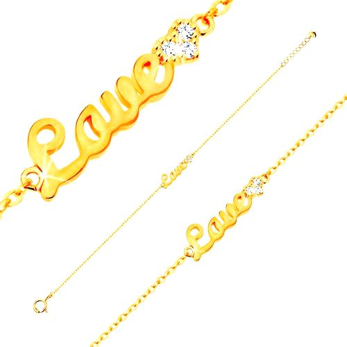 Zlatý náramok 585 - nápis Love a žiarivé zirkónové srdce