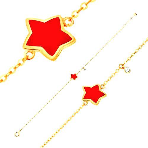 Zlatý náramok 585 s príveskami - hviezda s červenou glazúrou
