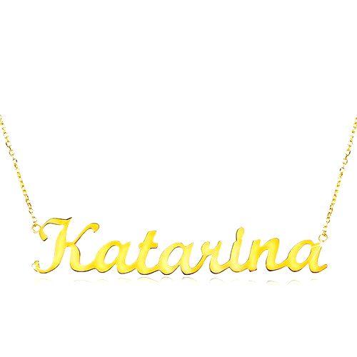 Zlatý nastaviteľný náhrdelník 14K s menom Katarína
