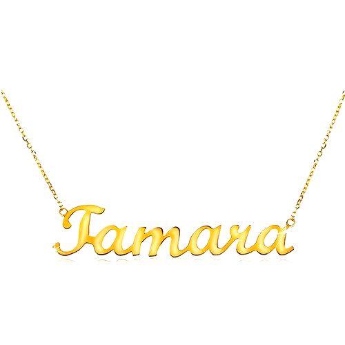Zlatý nastaviteľný náhrdelník 585 s menom Tamara