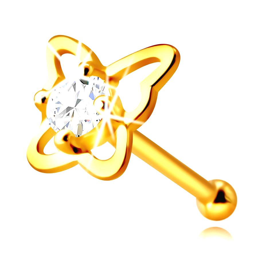 Zlatý piercing do nosa zo 14K zlata - kontúra motýľa s okrúhlym zirkónom čírej farby
