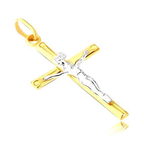 Zlatý prívesok 14K - dvojfarebná kombinácia Krista na kríži s priehlbinkami