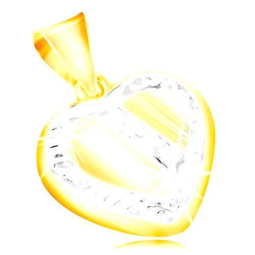 Zlatý prívesok 14K - srdce s lemom a šikmým pásom z bieleho zlata