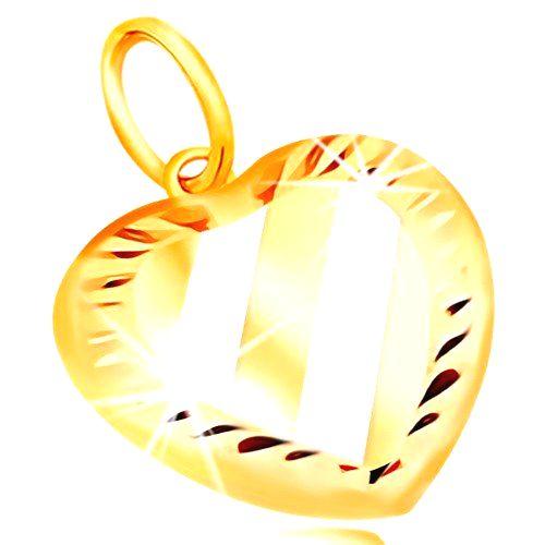 Zlatý prívesok 14K - srdce so šikmými pásmi z bieleho zlata