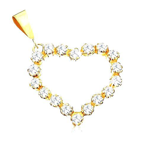 Zlatý prívesok 375 - číra zirkónová kontúra súmerného srdiečka