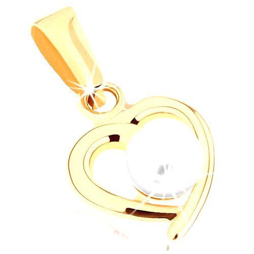 Zlatý prívesok 375 - kontúra nesúmerného srdiečka