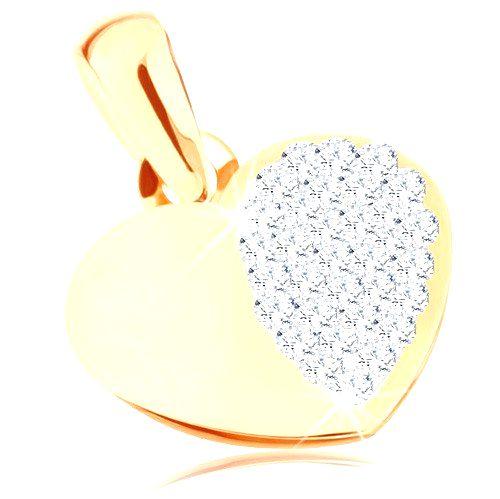 Zlatý prívesok 375 - lesklé symetrické srdiečko