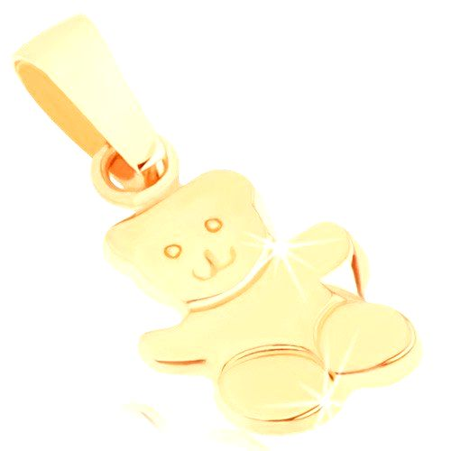 Zlatý prívesok 375 - lesklý mávajúci macko
