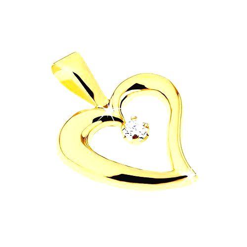 Zlatý prívesok 375 - lesklý obrys nepravidelného srdca