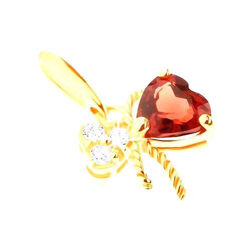Zlatý prívesok 375 - mašlička ozdobená červeným granátom a čírymi zirkónmi