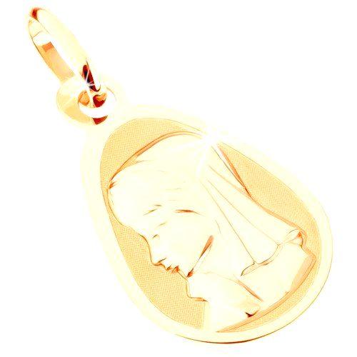 Zlatý prívesok 375 - matný plochý medailón