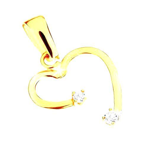 Zlatý prívesok 375 - nepravidelný obrys srdca