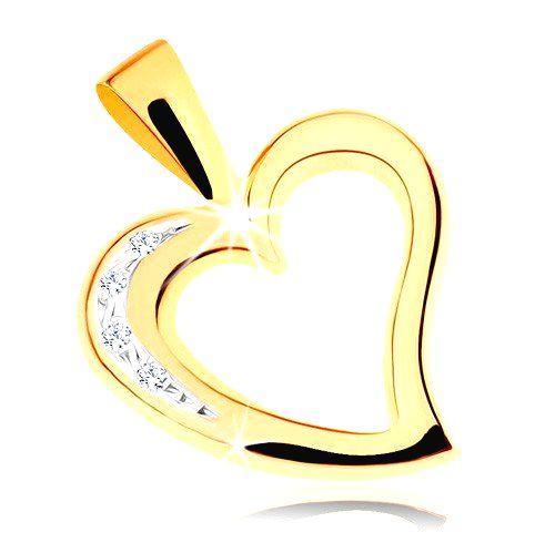 Zlatý prívesok 375 - obrys nepravidelného srdiečka